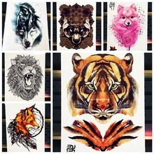 25 Styles Watercolor Tiger Fox Wolf Temporary Tattoo For Men Women Fake Tatoo Body Art Decals Waterproof Arm Tattoo Stickers