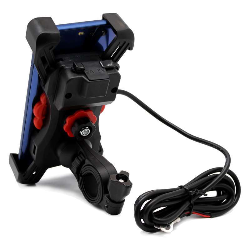 ROAOPP 12V USB Charger Motorcycle Handlebar Holder Moto Motocross Bike Dual USB Socket Charger Power Adapter Outlet Power Stand