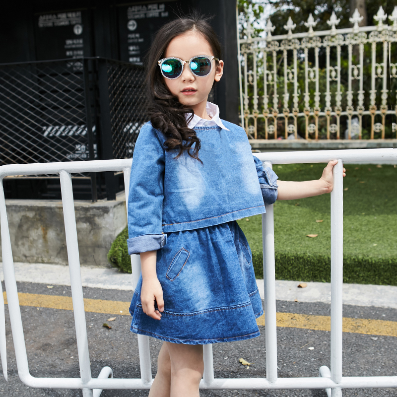 Fashion Girls Clothing Set 2019 New Autumn Spring Baby Jacket Dress 2 pcs set Children 4 5 6 8Y
