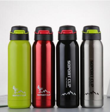 hot 2017 500ml With Straw Bottle Agua for Hiking CampingHot Bicycle Stainless Steel Water Bottle Vacuum Insulation Sport Bottle
