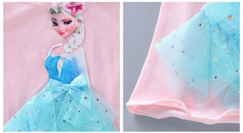 Girls New Summer Princess T-Shirt Elsa Childen Cotton Tees Lace T Shirt 3D Diamond Appliques Kids Birthday Party Top Clothing 10