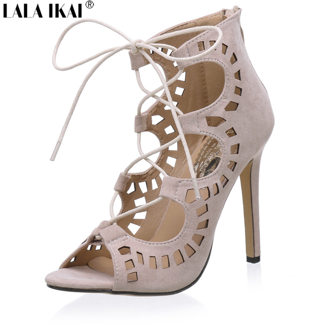 Sexy Cross Strap Women Sandals 2016 Open Toe Lace-up Gladiator Sandals Women Suede High Heels Sandals Summer Shoes XWF0453-5