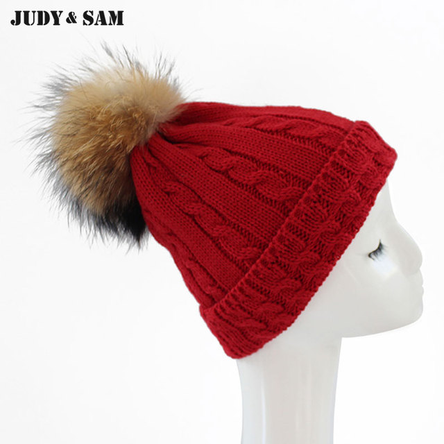 Latest 2015 Stylish Winter Hats For Women Removable Raccoon Fur Ball Top  Fitted Apparel Accessories Knitted Beanie Skullies a41ff3dd107