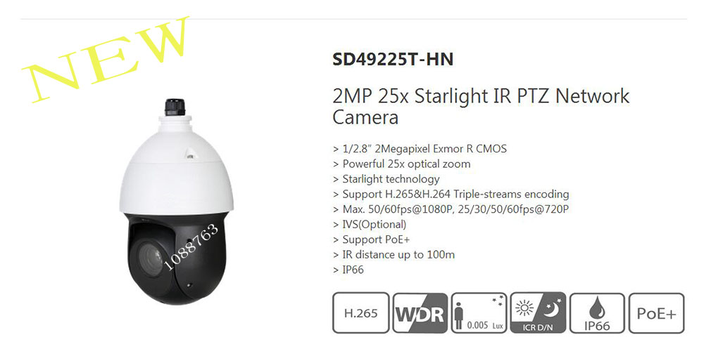 Free Shipping DAHUA 2MP 25x Starlight IR PTZ Network Camera IP High speed Dome Camera Without