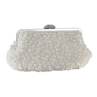 Wholesale Price Bag Women's Imitation Pearl Evening Bags Handmade Shell Shaped Beaded Clutch Purse Floral Party Handbag