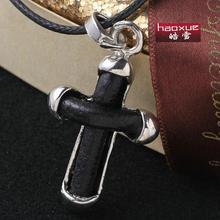 1pc Punk rock accessories Black double stainless steel cross pendant necklace