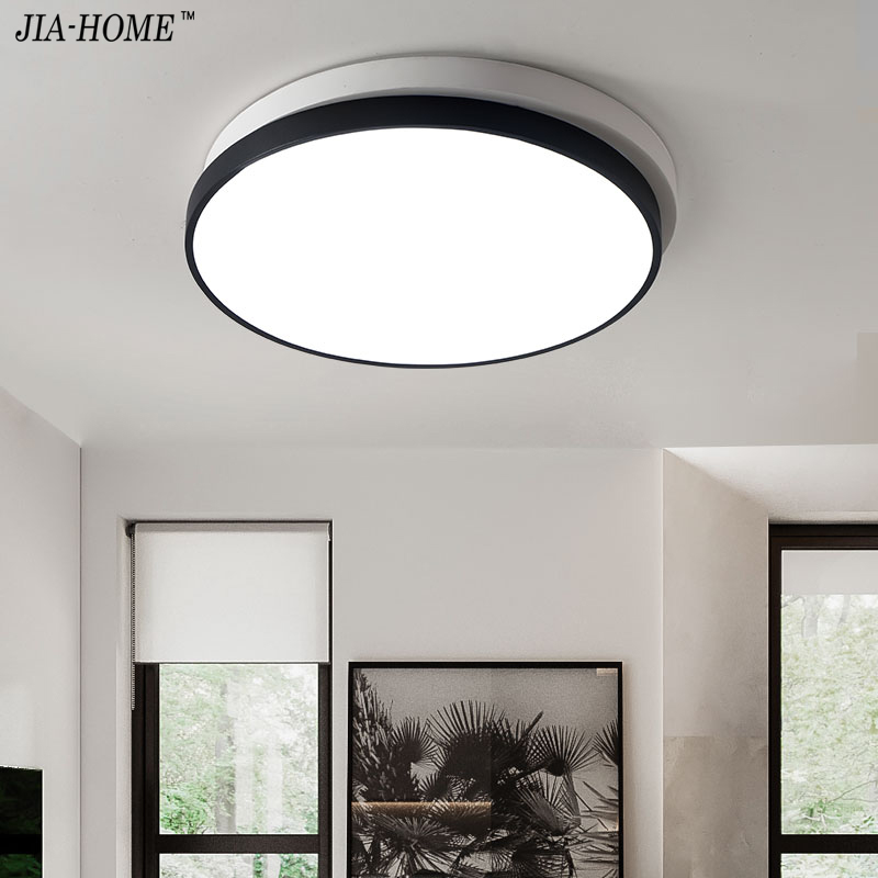 surface mounted ceiling lights modern for bedroom with switch or remote simple black with white round shape ceiling lamp