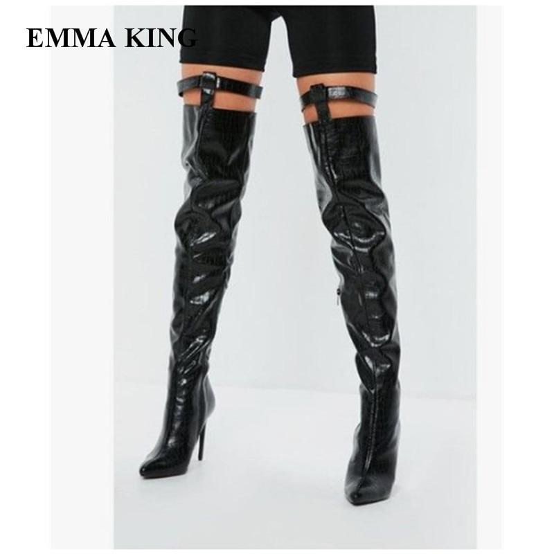 Sexy Mujer Partie Noir Femmes Botas Date Hauts Genou Emma Le Bottes Chaussures Zapatos Pointu Talons Roi Bout Cut Sur De qfAntUPx