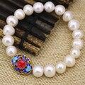 Элегантный 10-11 мм натуральный белый пресной воды культивированный жемчуг браслет для женщин перегородчатой аксессуары diy ювелирных изделий 7.5 inch B3082
