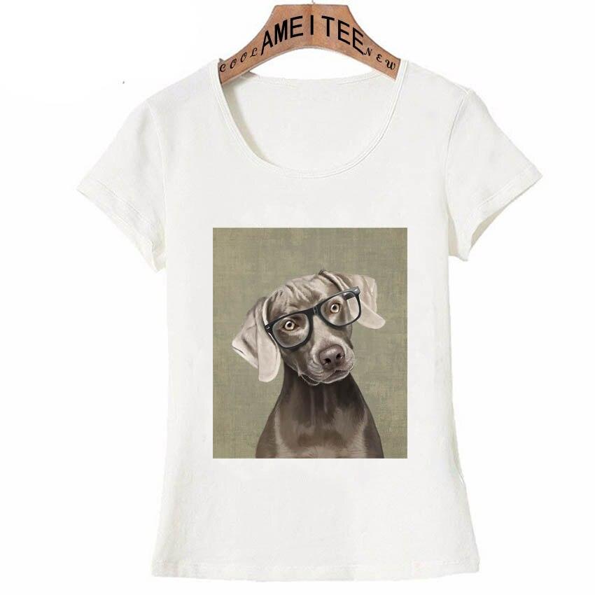 Hipster Cool Weimaraner Dog T-Shirt Summer Women T-Shirt Vintage Casual  Girl Tops Funny Dog Design Hip Hop Style Woman Tees