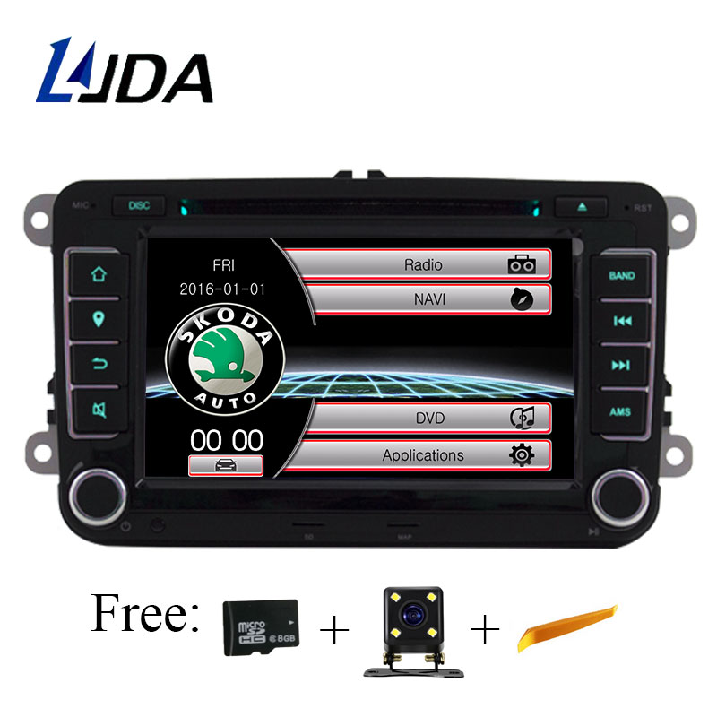 LJDA Two Din 7 Inch Car DVD Player For Skoda Octavia Fabia Rapid Yeti Superb VW Seat With Wifi Radio FM GPS Navigation 1080P Map