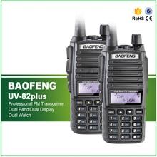 Best Price 2PCS/Lot Original Long Distance VHF UHF H/M/L Tri Power 8/4/1W Dual Band Black Baofeng UV-82plus