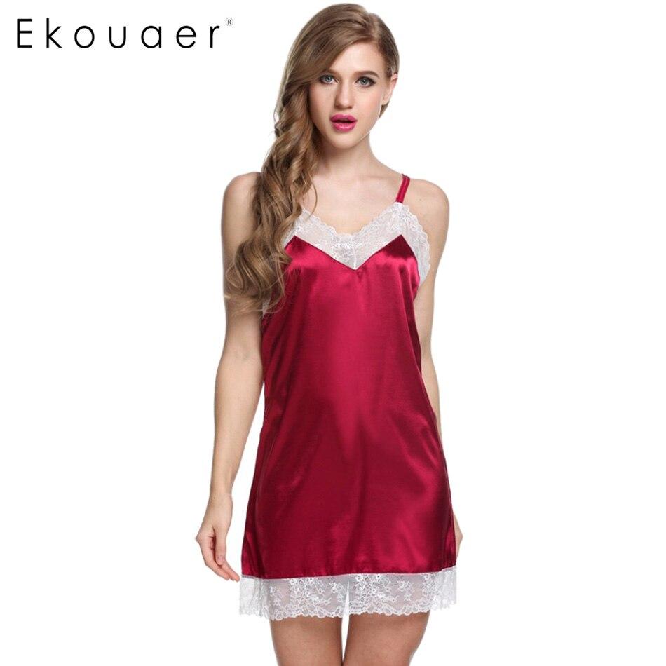Ekouaer Women Lace Dress Sexy Sling Sleepwear Satin -2600