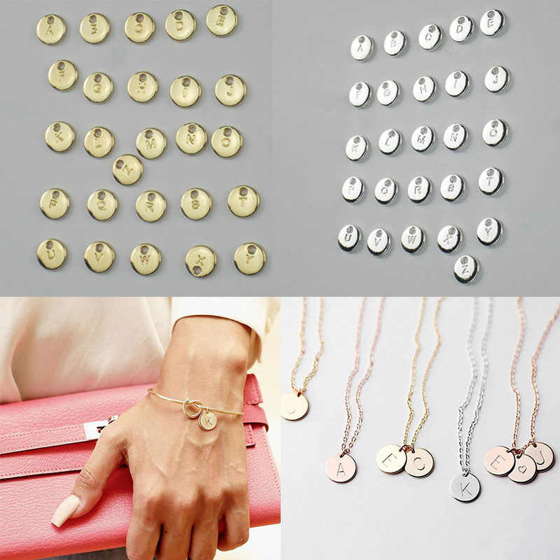 26pcs/pack Alphabet Letter Silver Gold Color Round Coin Pendant Charms For Women Men DIY Necklace Bracelet Family Jewelry Gift