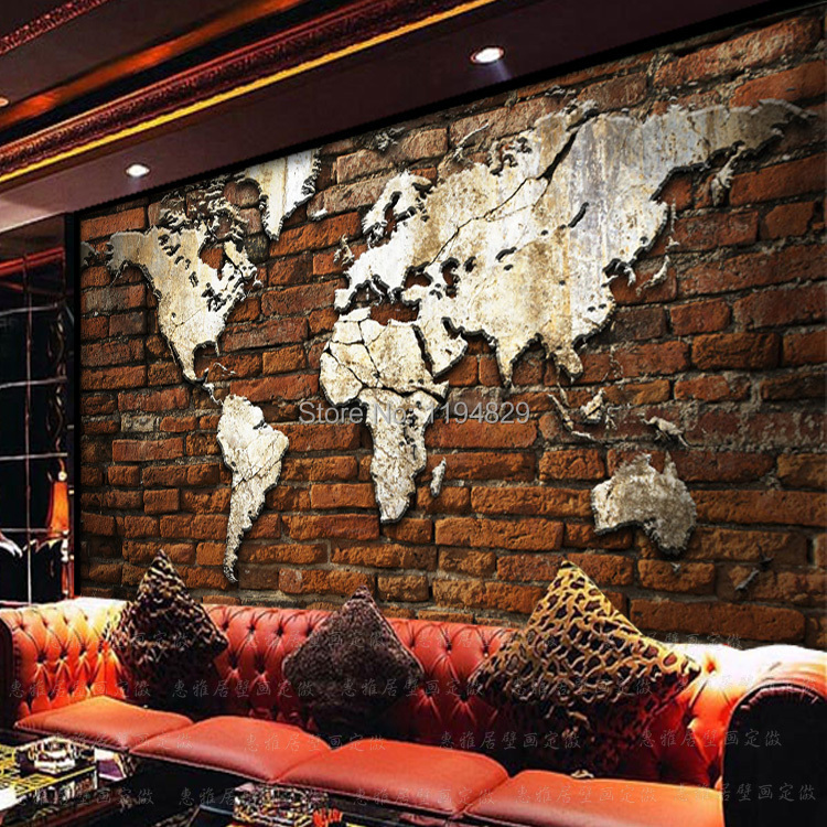 3d nostalgic retro brick wall world map large mural wallpaper tv 3d nostalgic retro brick wall world map large mural wallpaper tv sofa background photo wallpapers used for living room in wallpapers from home improvement gumiabroncs Gallery