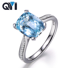 QYI Natural Sky Blue Topaz Women  Silver Engagement Rings 5 Ct Big Cushion Cut Gemstone 925 Sterling Banquet Ring