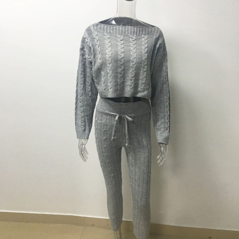 pink Two black Sets Autumn Tops neck Pencil Khaki white Suit Piece gray Outfits 2pcs O Matching Knitted And Women Home Sexy Cloth Pants Sweater Set Clothes 4xfxn