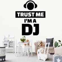 Cartoon Im a DJ Sentence Vinyl Wall Sticker For Living Room Decor Background Art Decal vinilo pared