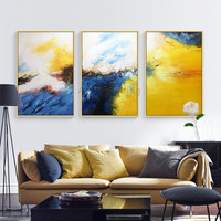 Canvas Acrylic painting Abstract 3 pieces blue yellow Painting caudros decoracion Wall Art Pictures for living room Home Decor09