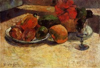 High quality Oil painting Canvas Reproductions Still life with mangoes and hibiscus (1887) by Paul Gauguin hand painted