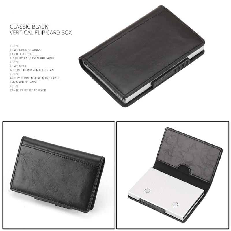 PU Leather Credit Card Holder Men Women RFID Metal Card Holder (9)