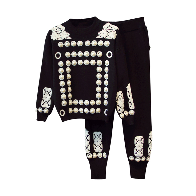HIGH QUALITY New 2018 Fall Winter Designer Runway Suit Set Women's Luxury Flocking Beaded Knitting Tops Pants Set