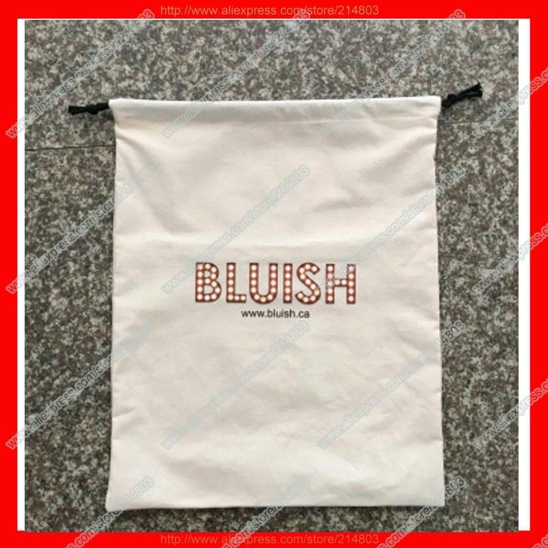 saco de cordão de algodão liso com logotipo