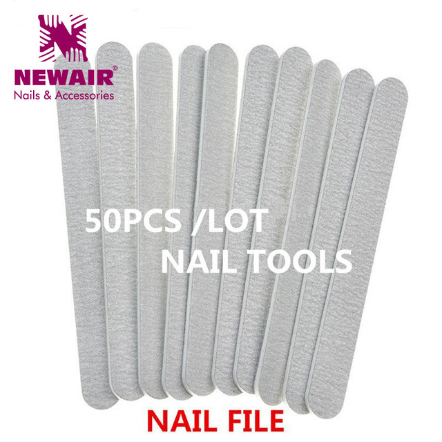 Whole 50pcs Nail Files Professional Grey Sanding File Tools Double Side Manicure Tool Gift