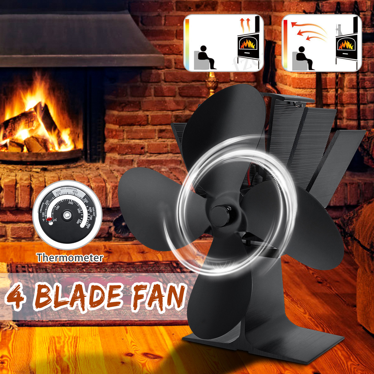 4 Blade 22.5cm Height Mini Heat Powered Stove Fan With Thermometer For Super Small Space On Wood/Log Burner/Fireplace Top