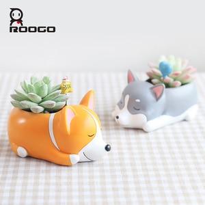 Image 1 - Roogo 8 kreatywny psy w stylu kreskówki wazon na kwiaty soczysty żywiczny śliczne ze śpiącym zwierzęciem do tyłu uczniowie doniczka prezent