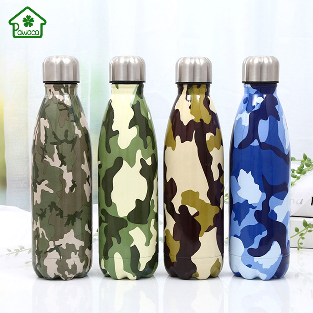 500ml Stainless Steel Thermos Creative Vacuum Flasks Camouflage Glaze Painting Portable Sport Cola Shape Water Outdoor Bottle A303