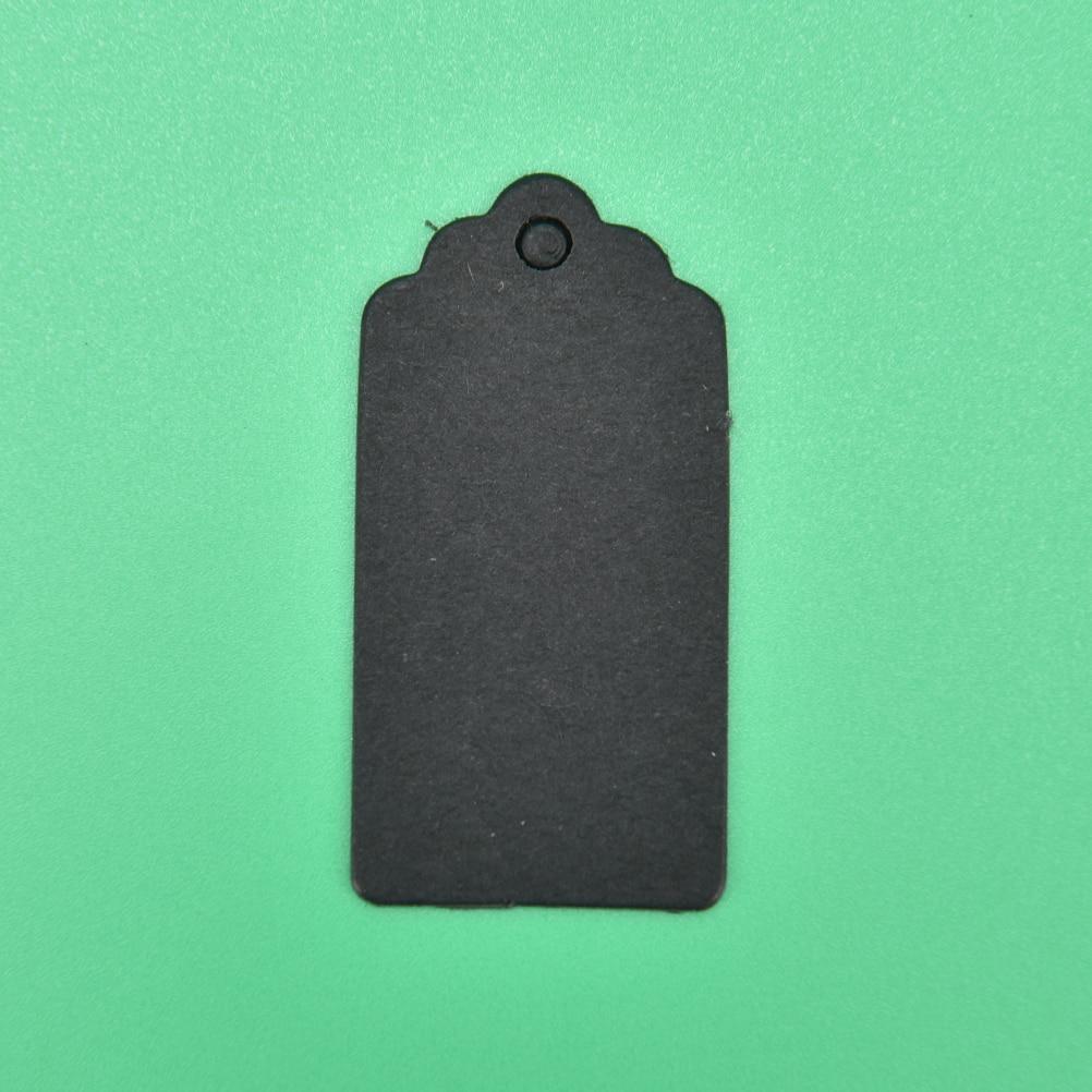 100 шт 4x2 см Крафт ценники для одежды висят DIY Подарок Рождественские принадлежности для украшения свадебной вечеринки прямоугольная бумажная этикетка - Цвет: Черный