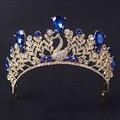 Nuevo Popular Noble Rhinestone Azul Pavo Real Princesa Diadema Corona Tiara Nupcial de Oro de La Moda vestido de Novia de Pelo accesorios de la joyería