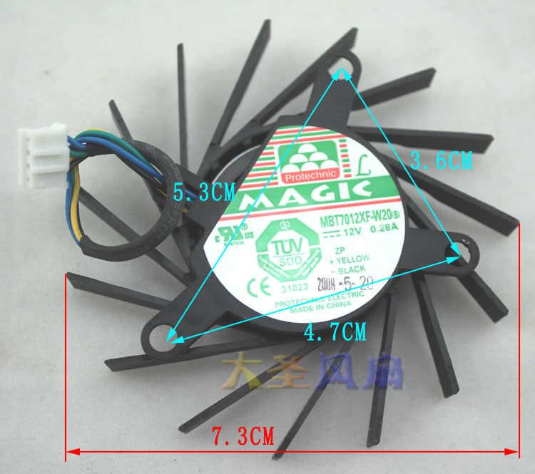 Original MBT7012XF-W20 DC12V 0.28A 9600GT 9800GT EVGA para NVIDIA Placa Gráfica ventilador de refrigeração