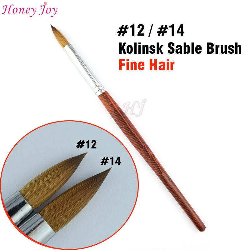 TAGLIA no.14 / no.12 Kolinsky Sable Acrilico Nail Art Brush Gel UV Builder Carving Penna Pennello Liquido in polvere FAI DA TE Bellezza Nail Disegno