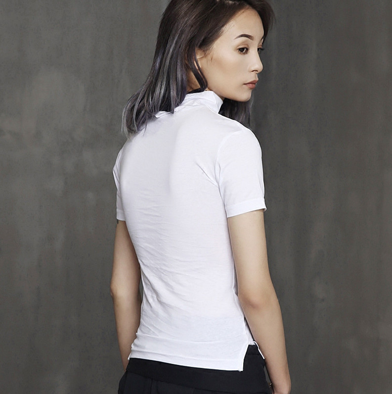210adb6d Cakucool Summer Solid Black White Casual Cotton T shirt Women Short Sleeve  Turtleneck Tee Tops Slim Sexy Design Basic T Shirt -in T-Shirts from Women's  ...