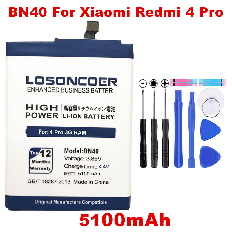 tracking Number Price Remains Stable Losoncoer 5100mah Bn40 Battery For Xiaomi Redmi 4 Pro Battery 3g Ram 32g Rom Edition Hongmi 4 Bateria Mobile Phone Parts