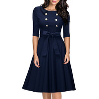 Explosion Europe America Ladies T Shirts Double Breasted Waist Big Swing Dress Princess Dress