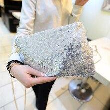 Women Ladies Glitter Sequins Handbag Sparkling Party Evening Envelope Clutch Bag Wallet Tote Purse