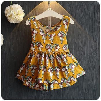 2016 Summer Korean 2 Pieces Set Girl Garment New Pattern Girl Baby A Doll Printing Skirt Pendulum Jacket T-Shirt Shorts Suit