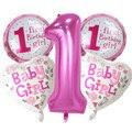 5 шт., Набор детских воздушных шаров для первого дня рождения, розовый и голубой номер, фольгированные шары, украшения для дня рождения, украш...