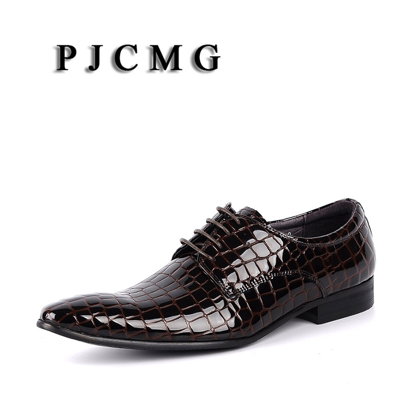 PJCMG New Fashion Black Brown Red Blue Genuine Leather Lace Up Pointed Toe Flat Man Casual