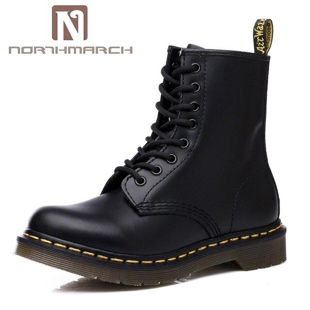 NORTHMARCH erkek botları hakiki deri klasik Dr Martins çizmeler moda yarım çizmeler erkekler sonbahar erkek ayakkabısı Bota Masculina Couro