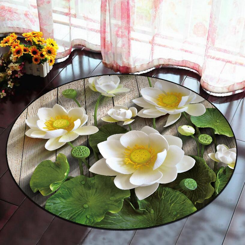 Lotus 3D Pattern Printing Round Shape Carpet Drawing Room Floor Mat Bedroom Bedside Computer chair Rug Sofa Foot Pad cushion