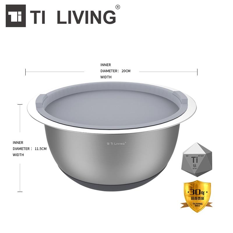 >Hot Sale Tikungfu Titanium <font><b>Medium</b></font> <font><b>Size</b></font> Salad Bowl <font><b>Kitchen</b></font> Accessories Dish Pot Veggie Vegetable Fruit BPA Free Shipping Healthy