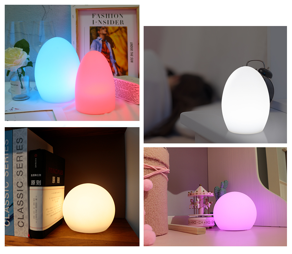 WiFi Smart Table Lamp Compatible with Alexa Google Home Hand Touch Light, LED Dimmable Ambient Night Light Controlled by Smartlife App, Led Multicolored Colors Light_F7