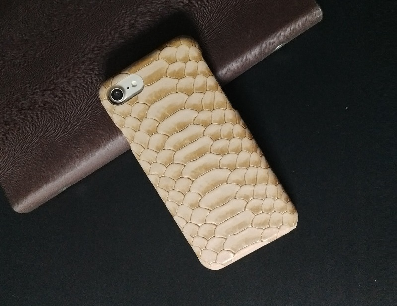 brown real leather case for iphone 7 7plus python skin pattern back covers