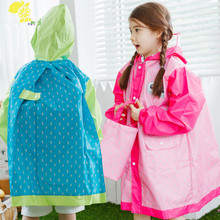3-12Y waterproof raincoat for children  baby girls boys,students rain coat kids outdoor raincoat poncho Jacket with backpack
