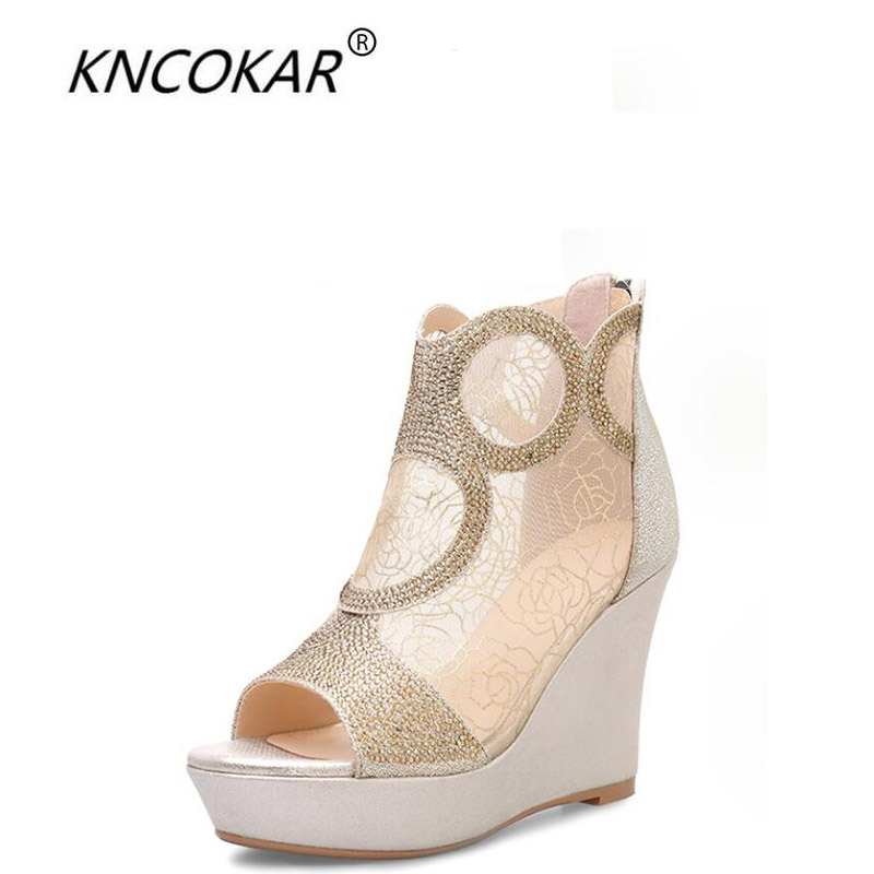 KNCOKAR 2018 Summer new lady thick bottom high heel waterproof platform drill fish mouth net yarn genuine leather sandalsKNCOKAR 2018 Summer new lady thick bottom high heel waterproof platform drill fish mouth net yarn genuine leather sandals