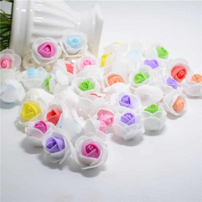 100 шт. мини-пена 2 Цвета Роза Handmake искусственный цветок голову Свадебные украшения DIY ВЕНОК подарок Скрапбукинг Craft поддельные цветок